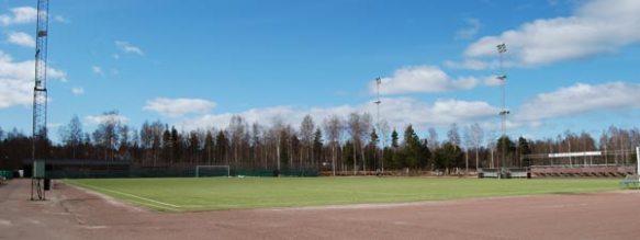 Konstgräsplanen på Moras idrottsplats Prästholmen